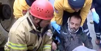 Esenler'de göçük altında kalan işçiyi arkadaşları kurtardı