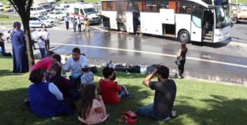 Esenler'de yolcu otobüsünde yangın çıktı