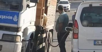 İBB'ye ait araçtan, şahsi araca yakıt ikmali iddiası