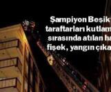 Esenler'de şampiyonluk kutlamasında atılan havai fişek yangın çıkardı